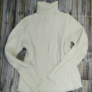 Izod White Cable Knit Turtleneck Sweater